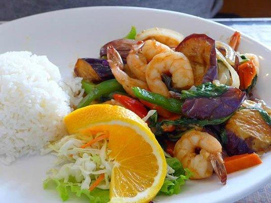 Thai Satay Restaurant: Sautéed shrimp & eggplant