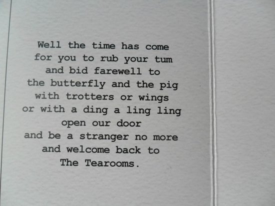The Butterfly And The Pig: the inscription inside the little card your bill is enclosed in