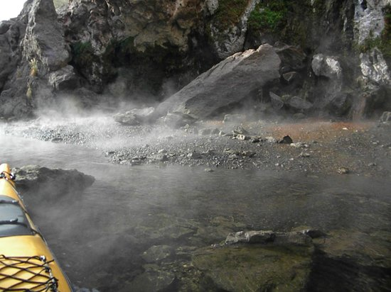 Evolution Expedition Kayak Tours - Day Tours : Steam rising from the beach where the hot springs meets the Colorado River