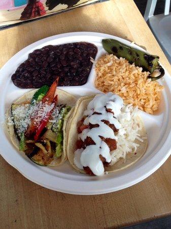 Dorado Tacos & Cemitas: taco plate: left (grilled veggie taco), right (shrimp taco)