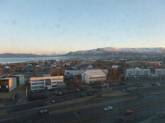 Hilton Reykjavik Nordica: The mountains and the harbor/sea from the room
