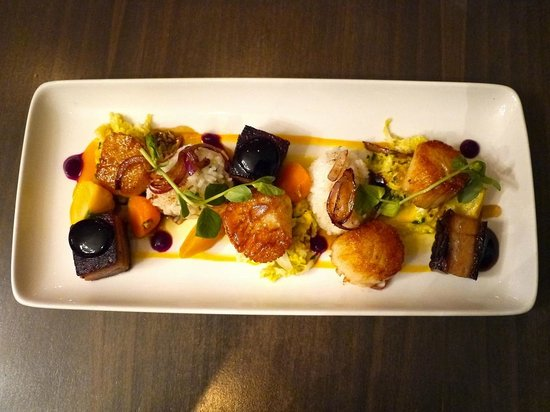 Painted Boat Resort: Pork belly and scallop entree from The Restaurant