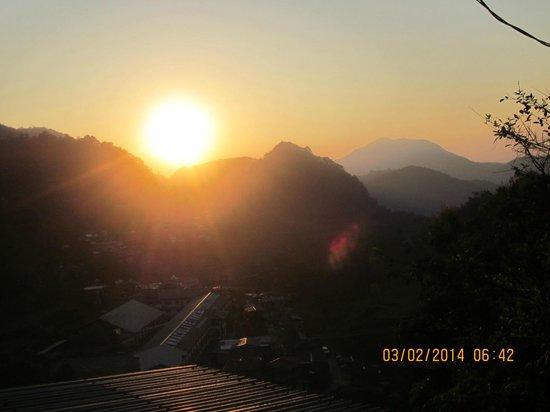 the sunrise seen  from the balcony of Banaue Homestay
