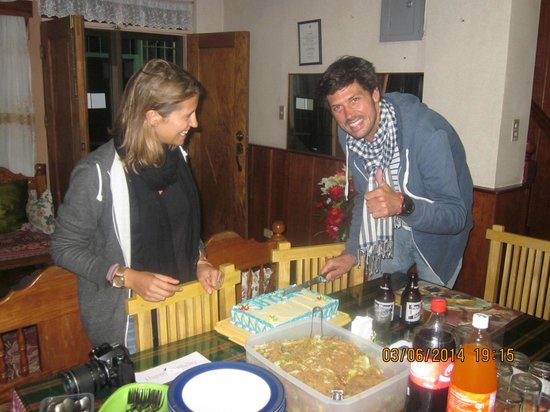 Banaue Homestay surprises Nicolas with his girl friend a  birthday cake and fried noodles