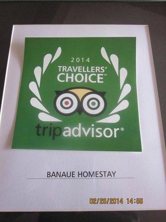 Banaue Homestay: Award from Trip Advisor- Traveller's Choice 2014