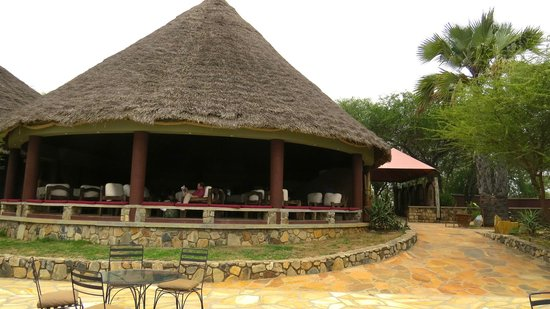 Tarangire Safari Lodge: Spacious lounge with beautiful furniture made from Dhow wood