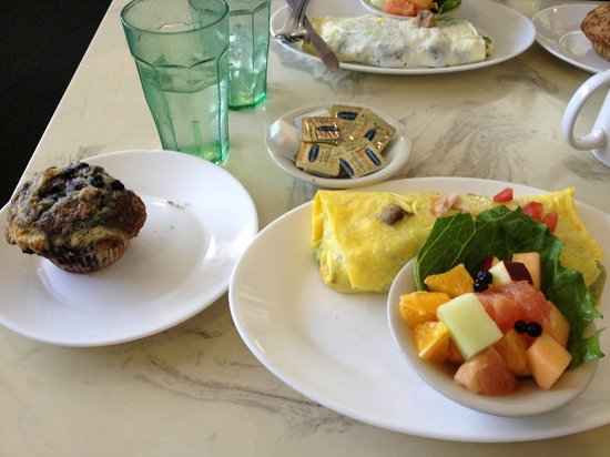 Blueberry Muffin Restaurant : Breakfast for lunch- blueberry muffin, omelet and fruit