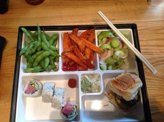 The Cowfish Sushi Burger Bar: Bento box with spicy tuna roll