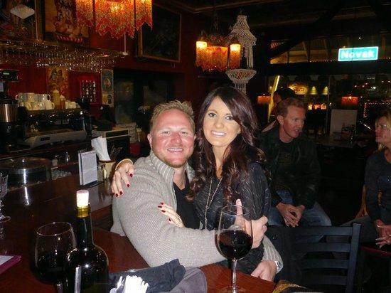 Secret Stash: My love and I enjoying a glass of wine before dinner :)