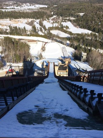 Olympic Ski Jump Complex : launch pad view from 120 m jump