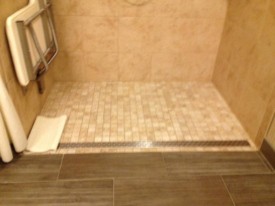 Hampton Inn Durango: drain on floor of accessible shower