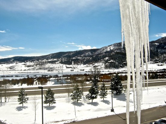 The Village at Steamboat Springs: icicles hanging from roof outside lounge