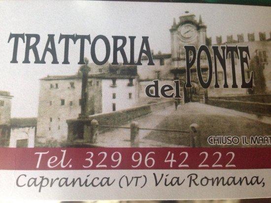 Trattoria del Ponte: Il biglietto da visita.
