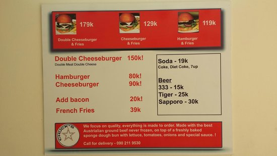 Chuck's Burgers : Simple menu, with delivery phone number!