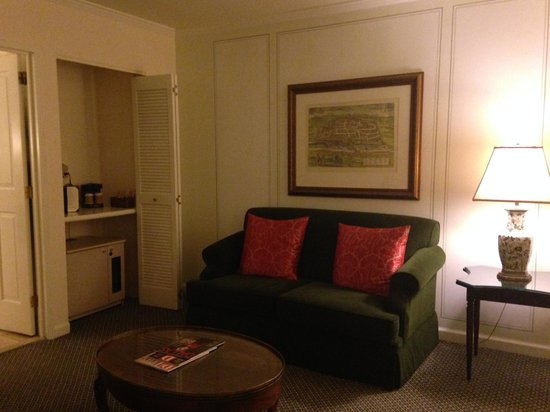 The Adolphus : Executive Suite living room & lil kitchen (fridge, coffeemaker)