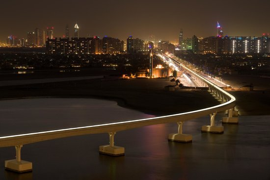 Atlantis, The Palm : Photo of Monorail at night  taken from the terrace of our room toward Dubai