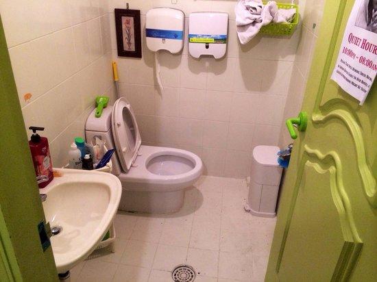 Dustin Guest House: Toilet/shower combo on top floor.