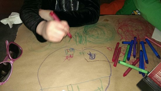 Montana's BBQ & Bar: They place paper over your table so u can colour and draw. Good for kids.