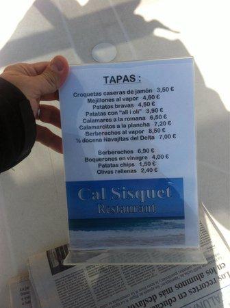 Restaurante Cal Sisquet: Tapas