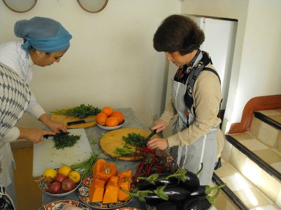 Riad Dar Attajmil: My wife in the cooking class