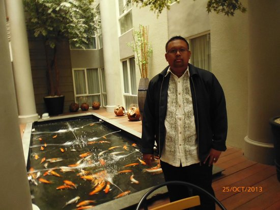 Avissa Suites: Fish Pond in the middle of the Hotel at Level 2
