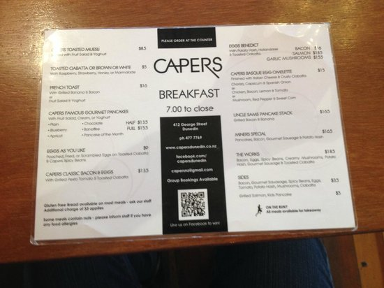 Capers Cafe: Capers' breakfast menu