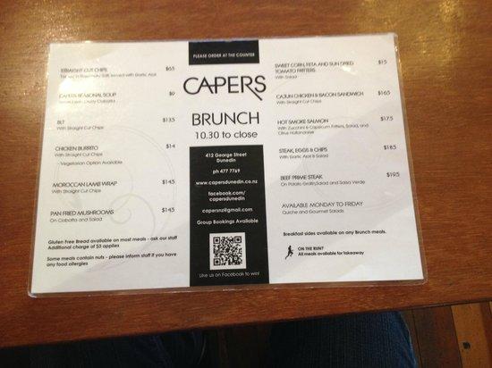 Capers Cafe: Capers' brunch menu