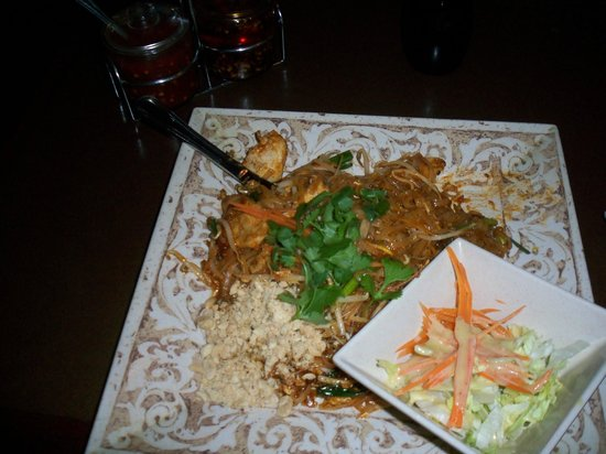 Thai Thai Cuisine: Pahd Thai with Chicken on a Square traditional plate is typical of their meal presentation.