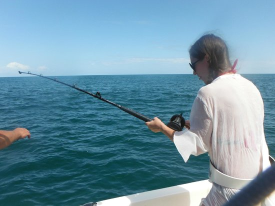 Wahoo Fishing & Tours: My wife hooked in to her first shark