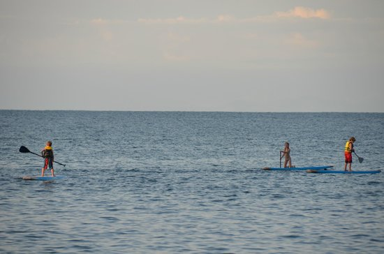 Copa de Arbol Beach and Rainforest Resort: our three elementary school kids paddle boarding from the hotel