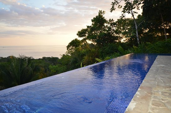 TikiVillas Rainforest Lodge & Spa: beautiful infinity pool with a view of the Pacific Ocean