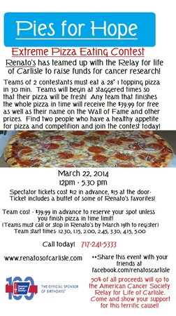 Renato's: Help support the American Cancer Society!