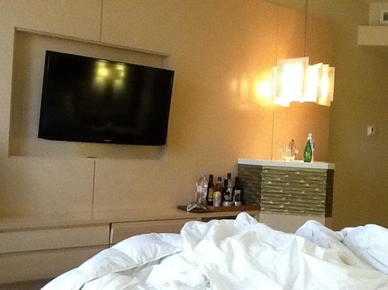 Waldorf Astoria Panama : cute minibar, huge tv, plush bed (could not be more comfy)
