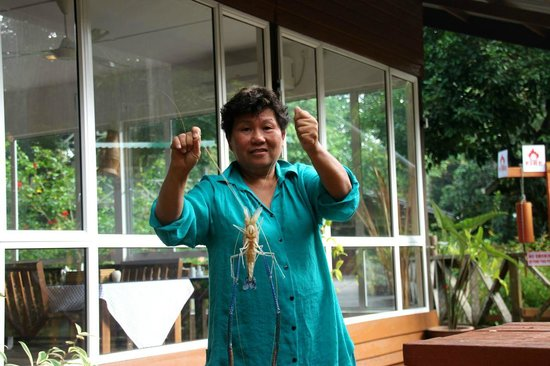 Borneo Nature Lodge: Chinese lady very enthusiastic about sweet water crab