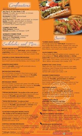 CARLOS1800 Mexican Grill : COMBINATIONS & MORE