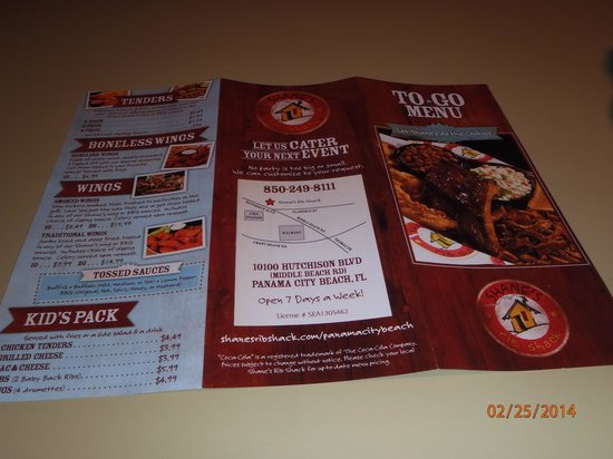 Shane's Rib Shack: Back of take out menu