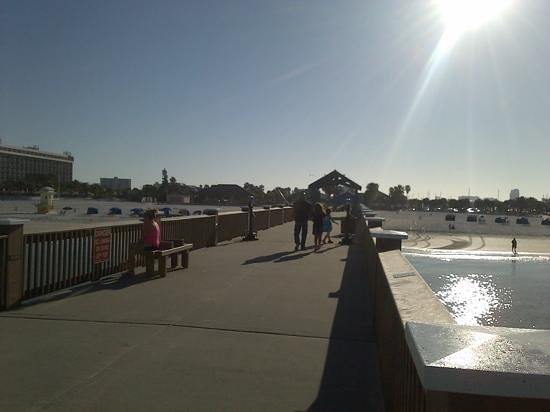 Hilton Clearwater Beach Resort & Spa: pier 60 looking back towards hotel on left