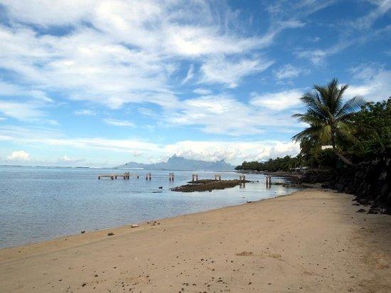 Le Meridien Tahiti: プライベートビーチからモーレア島が見えます