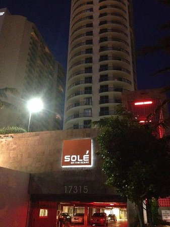 Solé on the Ocean: evening view of front of resort from Collins Ave.