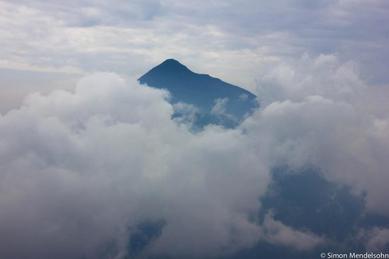 Kisoro, Uganda: View of Mahavura and Magahinga from Mt Sabinyo