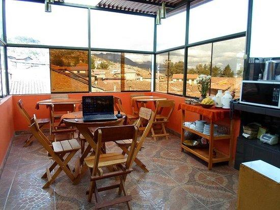 Hostal El Labrador: linda vista desde la pequeña cafeteria para desayunos
