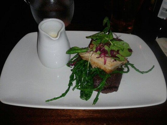 The Bay Horse: Braised Belly Pork with Black pudding mash and Dijon Sauce