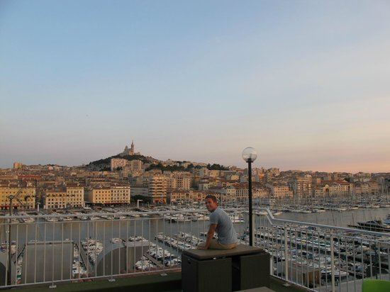 Hermes: View from terrace on top of hotel at sunset.