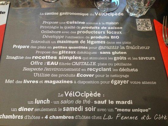 Restaurant Le Vélocipède : L'éthique