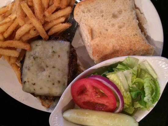 The Gruene Door: Kobe Burger with Pepper Jack and French Fries