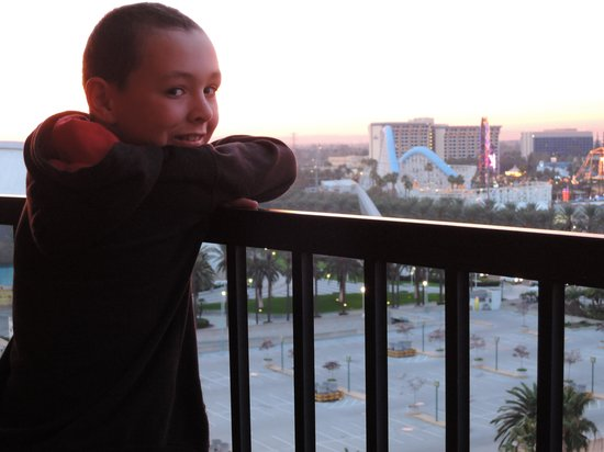 Sheraton Park Hotel at the Anaheim Resort : Our son on the balcony overlooking the back of Disney's California Park