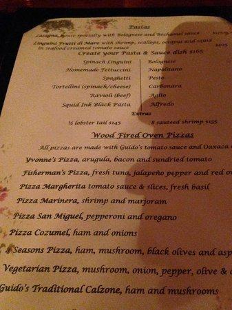 Guido's: menu