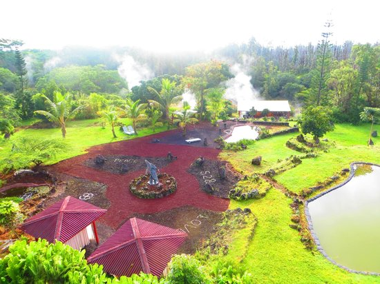 Pele's Breath: Backyard View of Inn and Hawaii's only Lava Heated Steam Saunas.
