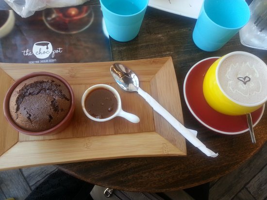 The Choc Pot: chocolate souffle with salted caramel sauce and a white hot chocolate with homemade nutella