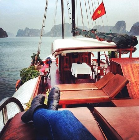 Indochina Junk: Relaxing on the top deck